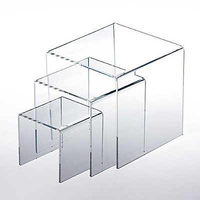 "Adorox Top Quality (Set of 3) Clear Acrylic Display Riser (3"", 4"", 5"") Jewelry S"