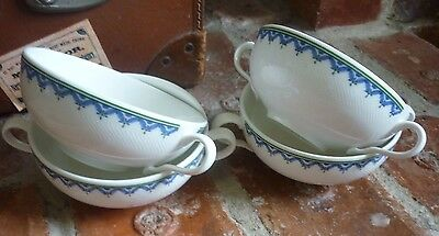 Villeroy & Boch Fine Vilbo China 'Casa Look' 4 Two Handled Soup Coups. Blue