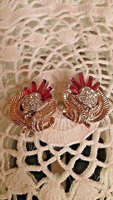 Rare Vintage Crown Trifari Alfred Philippe Faux Ruby Rhinestone Clip Earrings