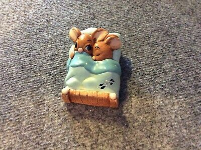 Pendelfin rabbit ornament Twins in bed  vintage stone craft made in England
