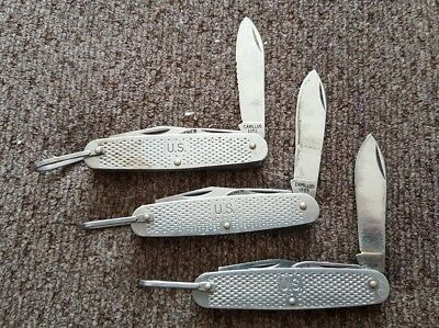 Lot of 3 Camillus US Military Folding Knives 1991, 1989, 1982