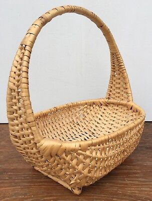 Vintage Woven Splint Open Detailed Handle Carrying Display Basket Handles 12x12""