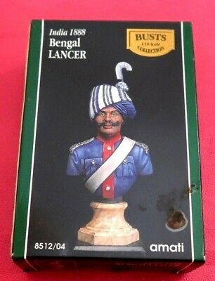 India 1888 Bengal Lancer Militar Cavalry Blue Uniform Bust 1/10 Amati Collection