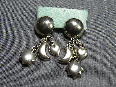 Ohrhänger Sun Moon and Heart 925 Silber 60s Silver Earrings vintage Boho Jewelry