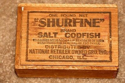 Vintage Shurfine One Pound Wooden Box of Salt Codfish