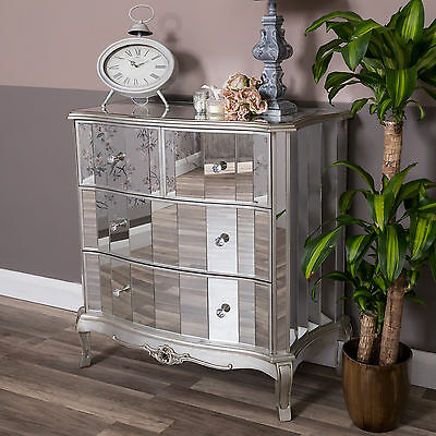 Blackened Silver Metal Embossed Mirrored 3 Drawer Chest Of Drawers Picclick Uk