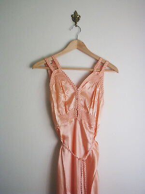 1940s Nightgown / Vintage 1930s 40s Satin Pink Bias Cut Slip Lingerie Negligee