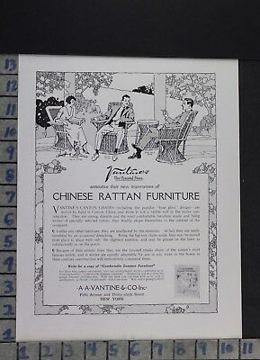 1920 Home Decor Furniture Chinese Rattan Vantine Wicker Chair Vintage Ad Dr75