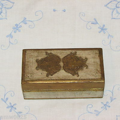 Vintage Florentine Hand Painted Trinket Box Gilded Etched Wood Tole Ware Jewelry