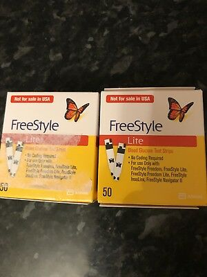 2 X Boxes Freestyle Lite Blood Glucose Test Strips