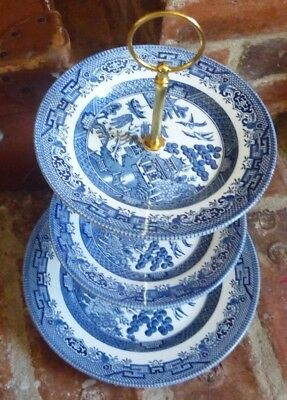 Churchill Willow Pattern Blue & White  3 Tier Cake Stand