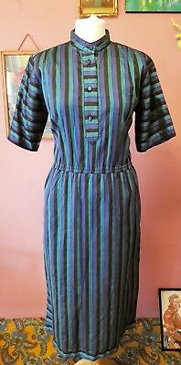 Vintage womens 80s high collar blue, green and black smart stripe dress