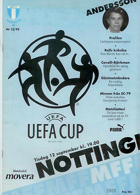 1995-96 Malmo v Nottingham Forest UEFA Cup 1st Round 1st Leg