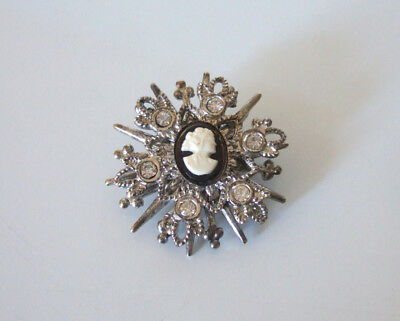 VINTAGE CAMEO With ANTIQUED SILVER TONE STARBURST & CRYSTAL ACCENTS BROOCH
