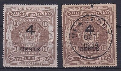 NORTH BORNEO SG 126 4c ON $10 m,mint and fiscal used pair