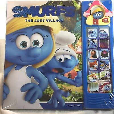 SMURFS The Lost Village Play-a-Sound Card Book - Electronic Buttons - SEALED