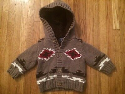 EUC Baby Boys babyGap Gap Brown Sherpa Lined Heavy Hooded Sweater 3-6 Months