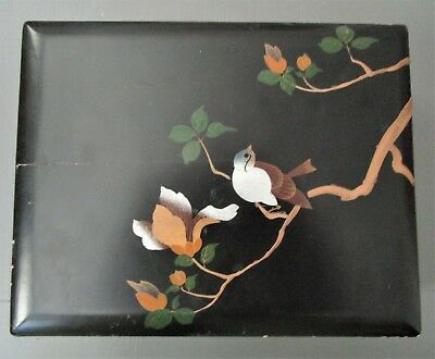 Vintage Antique Asian Painted Lacquer Hinged Box