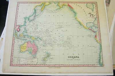 OCEANA or PACIFIC OCEAN , NEW UNIVERSAL ATLAS by Henry S. Tanner 1838