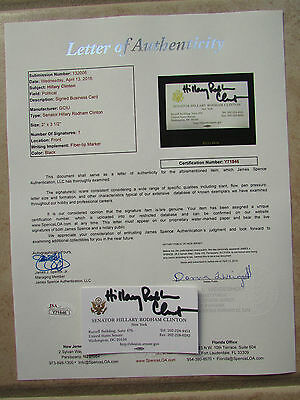 Hillary Clinton Signed Business Card Jsa Letter Y71846 Proof