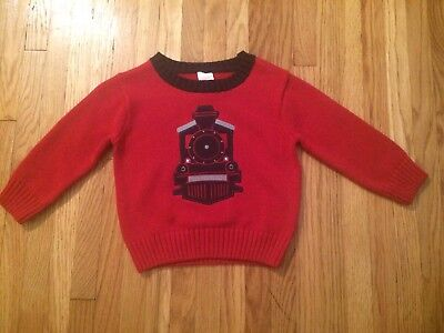 NWOT Baby Boys Gymboree 12-18 Red Knit Train Sweater