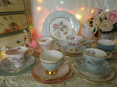 Lovely Vintage 21 Piece Mismatched Tea set, Blue, Pink & Gold, Good Condition