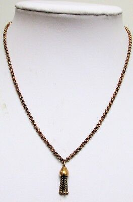 Good antique ornate rolled gold chain necklace + tassel pendant
