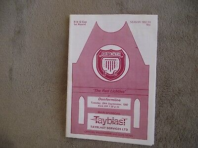 1992-93 (Sep) Arbroath v Dunfermline - Scottish B & Q Cup Plus Supplement