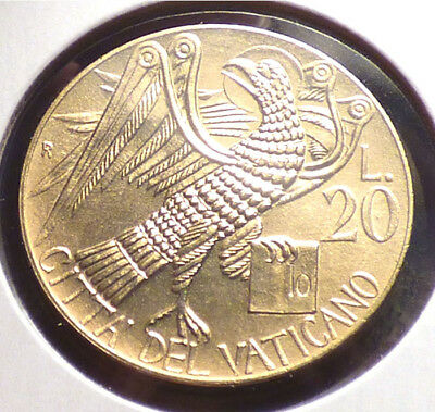 Vatican City 20 Lire 1985, AU Coin w/ Eagle Carrying the Gospel of St. John