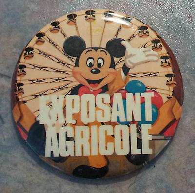 """Walt Disney Mickey Mouse 'Exposant Agricole' French Pinback 1980s Vintage 3"""""""
