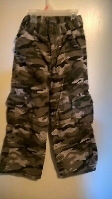 Boys camouflage cargo pants size 6 green brown adjustable waist army soldier