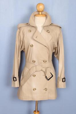 Womens BURBERRY Double Breasted Short TRENCH Coat Mac Beige 12/14