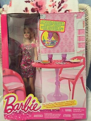 Barbie Glam Dining Room Set & Doll NEW BNIP Ideal Gift!