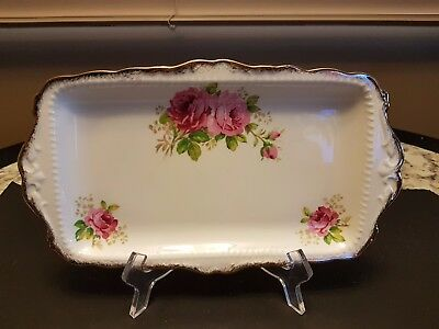 "Vintage Royal Albert ""american Beauty Rectangular Sandwich Snack Tray 11 1/2"
