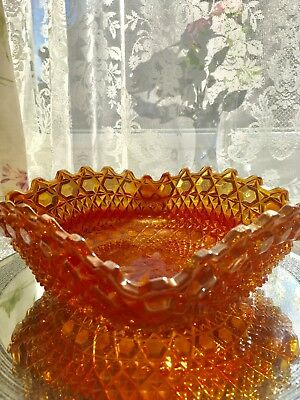 Stunning vintage amber colour Carnival glass bowl