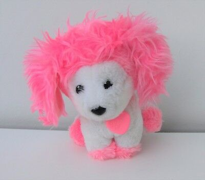 Vintage 1982 Mattel Poochie Dog Soft Toy Plush Pink and White Collectable 1980s
