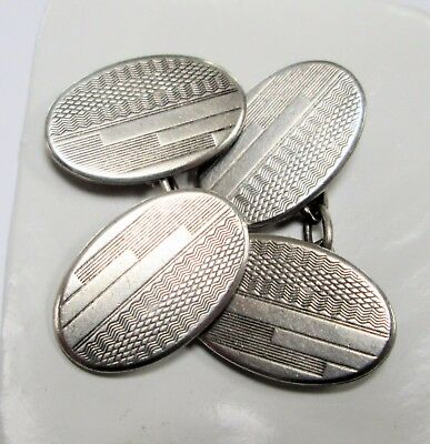Pair fine quality vintage Deco sterling silver cuff links