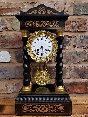 Fabulous 19c Inlaid French Portico Clock C1888 FULL SERVICED