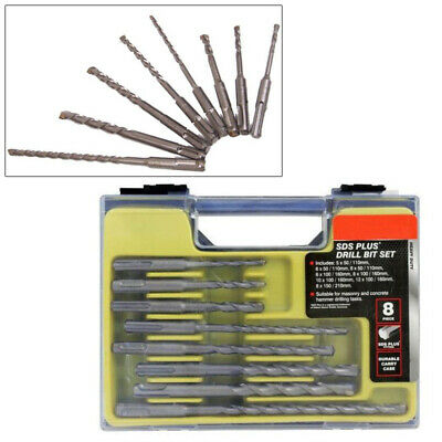 8Pc Sds+ Drill Bit Set Tungsten Carbide Tip + Storage Carry Case