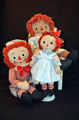 3 Old Button Eyes Raggedy Anns & Andys Doll Lot-J. Gruelle-Georgene, Knickerbock