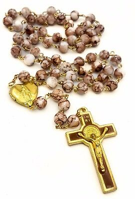 St Benedict Rosary Brown Glass Beads San Benito Medal & Cross Catholic Necklace