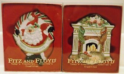 2 Fitz and Floyd Christmas 2003 Ornaments Happy Holidays & Our First Christmas