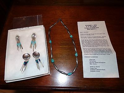 Native American Suzanne Reid Arizona Turquoise necklace & 2 pair of earrings set