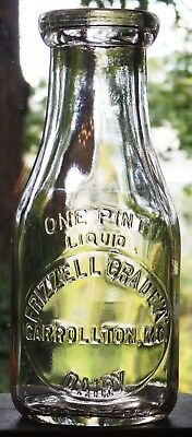 CARROLLTON, MISSOURI embossed pint FRIZZELL GRADE A DAIRY mint condition