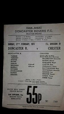 Doncaster Rovers V Chester City S/s Sunday 17.02.1974
