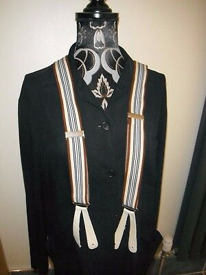 """Vintage Striped Adjustable 1 1/4"""" Wide Leather End Braces In Ex Con."""