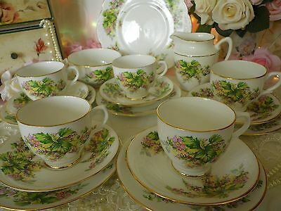 Stunning Vintage Clare18 Piece Tea Set, Pink & Green with gold Gilding