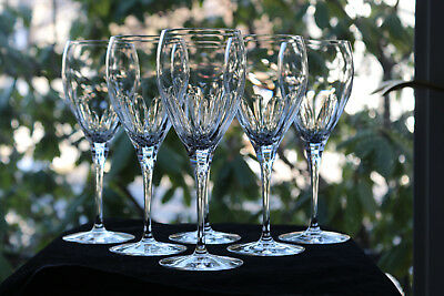 """Christofle, """"Alizes"""" French, Cut Crystal Water Glasses (5), Signed"""