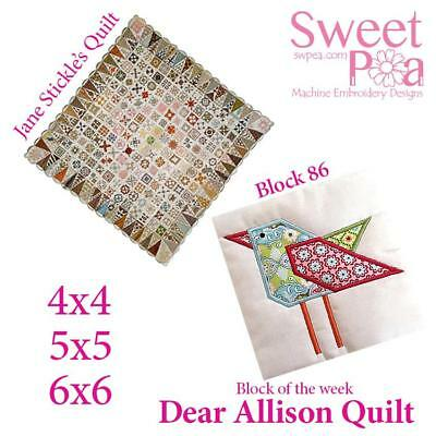Machine Embroidery Pattern Dear Allison block 86