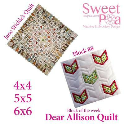Machine Embroidery Pattern Dear Allison block 88